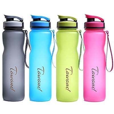 1L Sports Water Bottle w/Filter, BPA Free, Leak Proof Flip Top (Narrow/Wide Mouth 2in1), Fast Water Flow