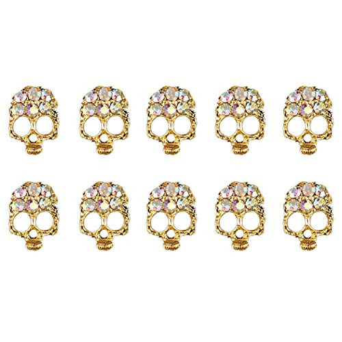 10PCS Halloween 3D Nail Art Metal Skull Cushaw Nail Accessories Manicure Decor (Design - 3C) ()