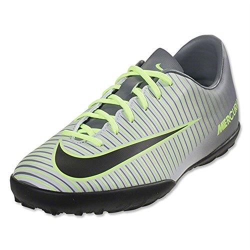 Nike Jr. MercurialX Vapor XI TF Turf Soccer Cleats (4.5Y) Pure Platinum, Ghost Green