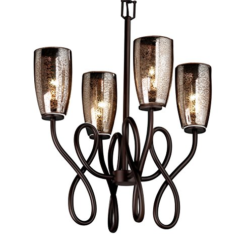 Justice Design Group Fusion 4-Light Chandelier - Dark Bronze Finish with Mercury Glass Artisan Glass Shade