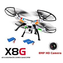 SYMA X8G 2.4G 4CH 6-Axis Gyro R/C Quadcopter RTF Drone with 8.0MP HD Camera Speed Mode Headless Mode and 3D Eversion by Syma