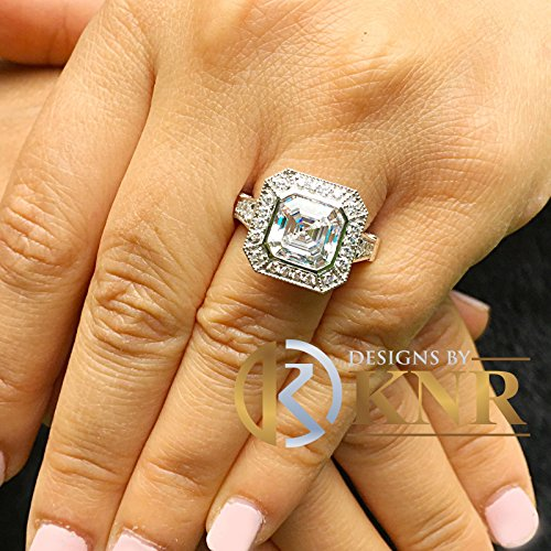 Huge and Heavy 14K Solid White Gold Asscher Cut Simulated Diamond Engagement Ring Bezel Set Halo Wedding Anniversary Round Cut 4.50ct by ASW