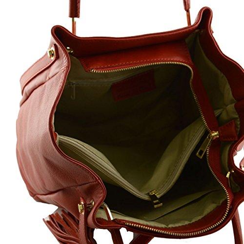 Bolso De Mano Y Al Hombro En Piel Verdadera Color Rojo - Peleteria Echa En Italia - Bolso Mujer