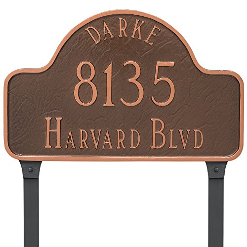 Montague Metal PCS-0086S2-L-BG 10'' x 15.75'' Name Address Arch Sign Plaque with Lawn Stake, Standard, Black/Gold by Montague Metal