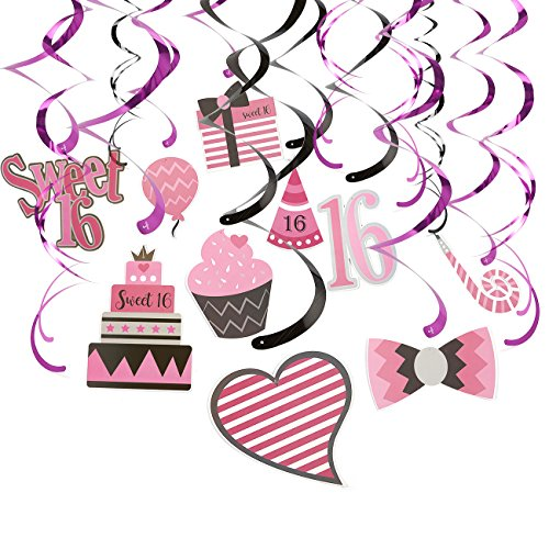 30-Count Swirl Decorations -16th Birthday Party Favors, Sweet 16 Party Streamers, Hanging Whirl Decorations, Pink - Hanging Length: 35 to 37.5 Inches (Party Favor For Sweet 16)