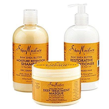 SheaMoisture Raw Shea Butter Moisture Retention Combination Set – Includes 13 oz. Shampoo, 13 oz. Conditioner & 12 oz. Hair Masque