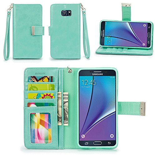 Galaxy Note 5 Case, IZENGATE [Classic Series] Wallet Case Premium PU Leather Flip Cover Folio with Stand for Samsung Galaxy Note 5 (Mint)