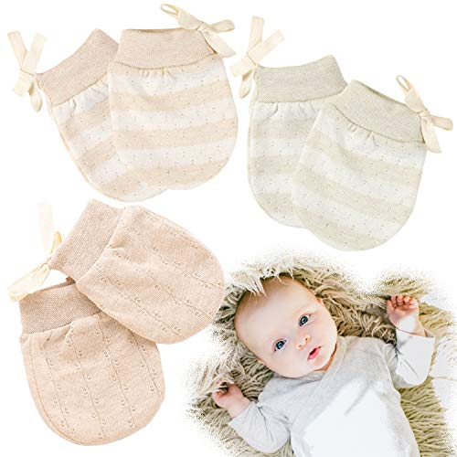 Kalevel 3 Pairs Newborn Baby Mittens No Scratch Cotton Gloves 0-2 Years Mixed Colors (M) 2 Pair No Scratch Mittens