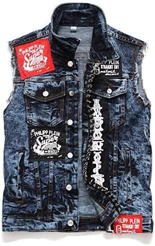 デニムベストジャケット袖シンプルなカジュアルベストメンズジャケット
