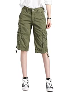 ba72c48b2c MUST WAY Women's Cotton Casual Loose Fit Twill Bermuda Cargo Shorts with  Multi Pockets