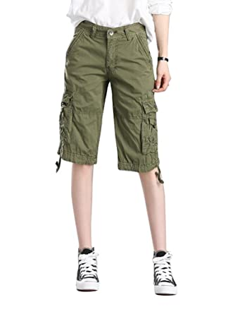 23772b255558 MUST WAY Women's Cotton Casual Loose Fit Twill Bermuda Cargo Shorts with Multi  Pockets Army Green