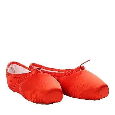 7afae68ee714d Eachbid Girls Satin Ballet Shoes Yoga Dance Pointe Shoes Split Sole ...