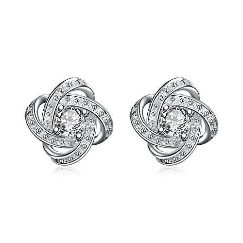 White Gold Plated Twist Silver Cubic Zirconia Love Knot Stud Earrings CZ Jewelry for Women Sensitive Ears (Infinity Knot Earrings)