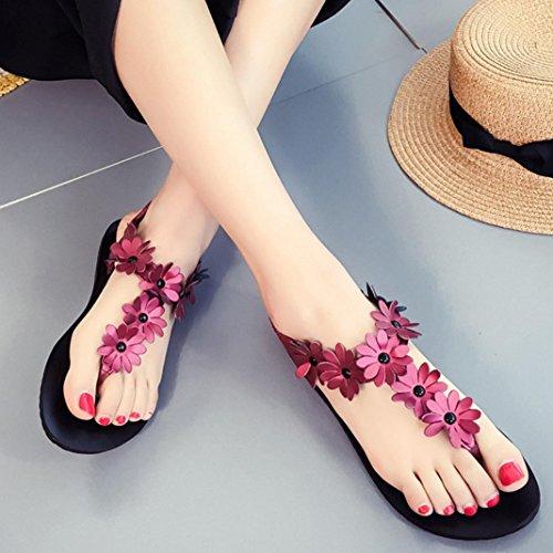 Transer® Damen Mode Flach Sandalen Blume Peep-Toe Fesselriemen Grün Rot Weiß Sandalen (Bitte achten Sie auf die Größentabelle. Bitte eine Nummer größer bestellen. Vielen Dank!) Rot