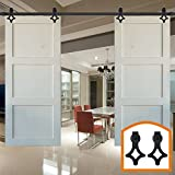 HomeDeco Hardware 8 FT Double Barn Door Hardware Interior Track Flat