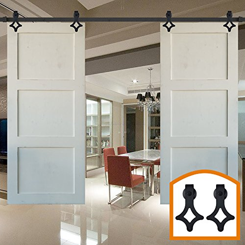 HomeDeco Hardware 8FT Barn Door Hardware Sliding Doors Pocket Interior For Sale Diy Track Baldwin Closet Bifold (Cheap Bifold Patio Doors)