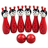 SODIAL(R) Mini Cartoon Wooden Bowling Ball Toy Set for Children---Random Color and Style