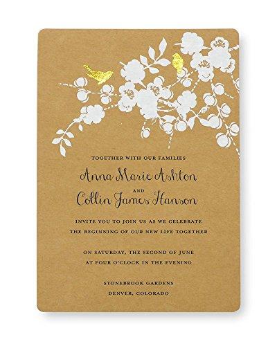 Gold Foil Birds Kraft Print at Home Wedding Invitation Kit (Bird Wedding Invitation Kits)