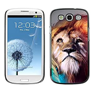 Caucho caso de Shell duro de la cubierta de accesorios de protección BY RAYDREAMMM - Samsung Galaxy S3 - Pintura Majestic Lion
