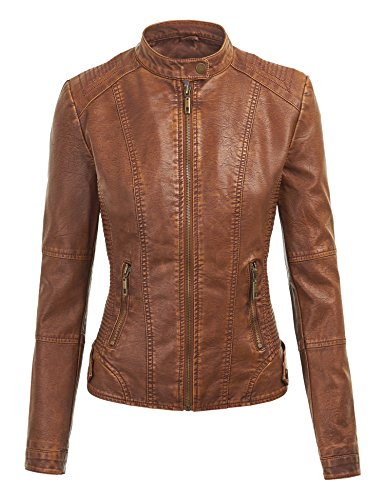 Ll Wjc1044 Womens Faux Leather Quilted Motorcycle Jacket With Hoodie L Camel Apparel Accessories