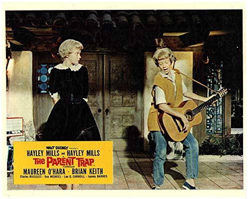 The Parent Trap Original Lobby Card Hayley Mills Playing Guitar To Herself 1961 from Silverscreen