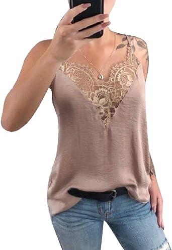 Mangotree - Camiseta de manga corta para mujer, de ganchillo, hippie