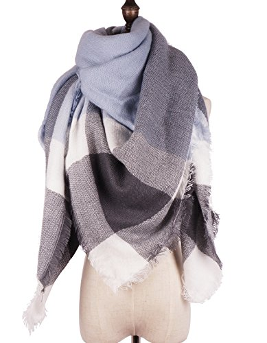 RiscaWin Lady Fashion Thick Hit Color Tartan Checked Cashmere Feel Scarf Shawl (Denim Blue& Navy& White)