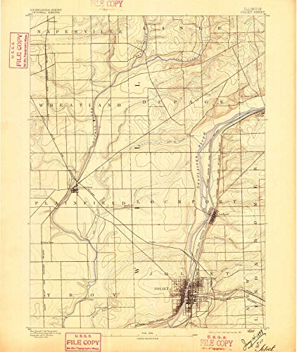 - YellowMaps Joliet IL topo map, 1:62500 Scale, 15 X 15 Minute, Historical, 1892, Updated 1897, 19.7 x 16.6 in - Paper