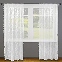 """DII Elegant Decorative Sheer Curtain, Panels, Window Treatments or Drape, For Small Windows, in Living Room, Kitchen, Bedroom, Kids Rooms, 50x63"""" (Set of 2) - White Lace Flower Blossom"""