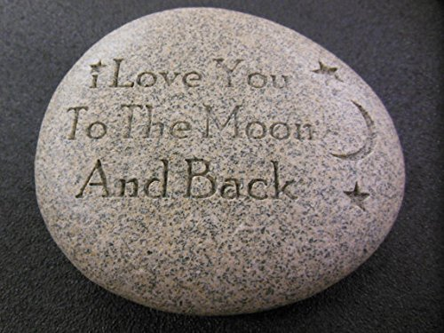 GraphicRocks Engraved River Stone Gift Paperweight I Love You to the Moon and Back