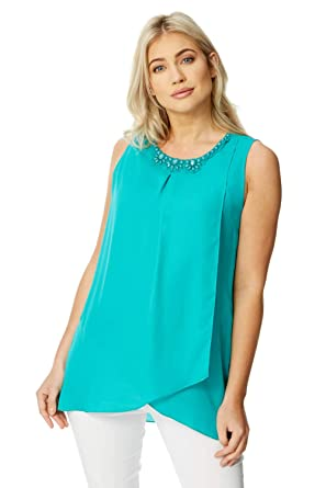 c4bb392dda683d Roman Originals Women Asymmetric Top with Embellished Neckline - Ladies  Chiffon Sleeveless Going Out Flattering Clothing Tops  Amazon.co.uk   Clothing
