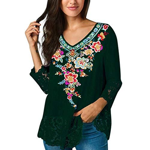 ℱLOVESOOℱ Women 3/4 Sleeve Blouse Plus Size Loose V Neck Floral Print Lace Stitching T-Shirt Tops Casual Tunic Shirts Dark Green -