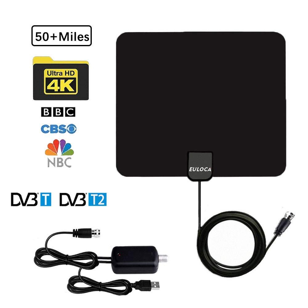 Antena de TV de 50 millas aére de largo alcance amplificada TV digital de alta definición Amplificador de señal aérea Versión actualizada con cable coaxial de 16.4 pies para Geniatech MyGica TV