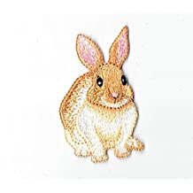 Natural Brown and Cream Bunny Rabbit Iron On Embroidered Applique Patch