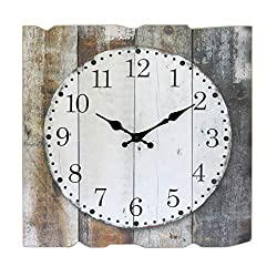 Stonebriar Square 15 Rustic Farmhouse Worn Wood Arabic Number Wall Clock, Battery Operated, Brown