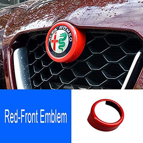 QHCP ABS 3 Colors Car Front/Rear Emblem Decorative Frame Sticker Carbon Fiber Style for Alfa Romeo Giulia Stelvio (Front Emblem, Red)