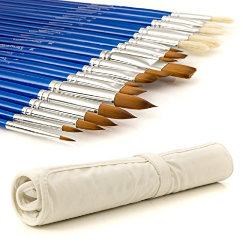 Artist Paintbrushes - Complete Set of 24 Premium Art Brushes - Oil, Watercolor and Acrylic Paintbrush Set - Blue Wood Long Handle Paintbrushes for Artists, Painting, Arts and Crafts, Small DIY Projects, Face Painting and More. Professional Quality and Durable Nylon and Bristle Brushes with Canvas Roll-up Carrying Case