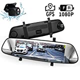 Mirror Dash Cam, DuDuBell 7' Backup Camera with External GPS, 1080P Front and 1080P Rear Camera with Starlight Night Vision IPS Touch Screen 290° Wide Angle, Reverse Assistance Parking Monitor HDR+