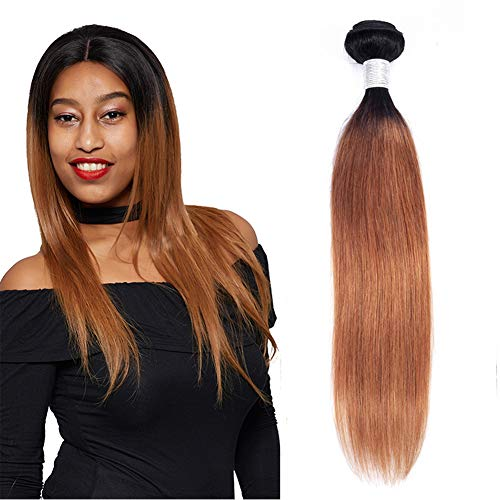 (Ombre Single Human Hair Bundle T1b/30 Two Tone Hair Bundle Dark Roots To Medium Auburn 100g Brazilian Virgin Hair Weave Double Weft Ombre Hair Bundle Colored Human Hair Extensions Deals(24 Inch) )
