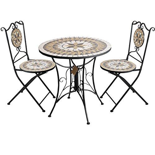 3tlg. Sitzgruppe Sitzgarnitur Mosaiktisch rund Ø70cm + 2 Mosaikstühle