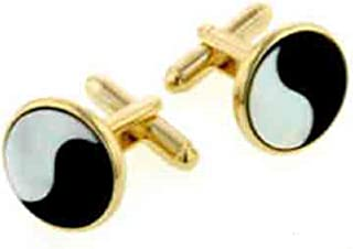 product image for JJ Weston Mother of Pearl and Onyx Yin and Yang Cufflinks. Made in The USA.