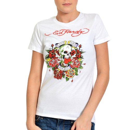 Ed Hardy Womens Girl (Ed Hardy Womens Love Dies Hard Graphic Tee Shirt - White -)