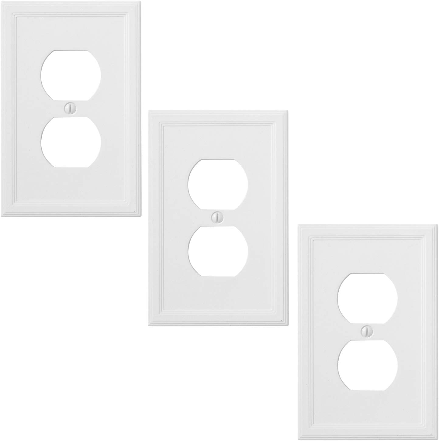 Insulated Single Duplex 3 Pack - White Outlet Cover Decorative Light Switch Cover Wall Plate