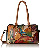 Anuschka Anna by Handpainted Leather Large Multi Comparment Satchel, Butterfly Glass Painting