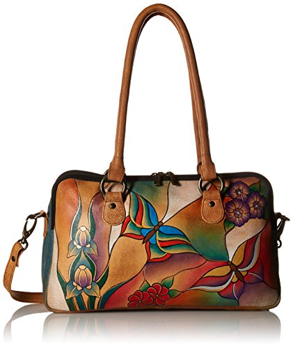 Anuschka Anna by Handpainted Leather Large Multi Comparment Satchel, Butterfly Glass Painting by ANUSCHKA