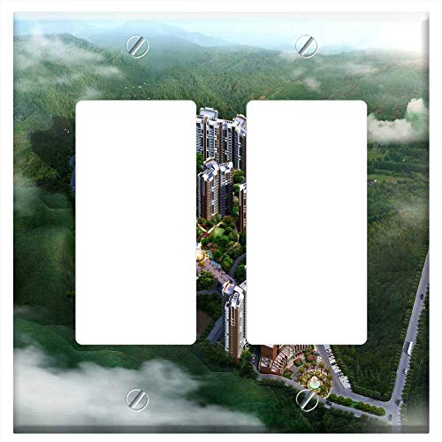 Birdseye Photo Real View - Switch Plate Double Rocker/GFCI - Effect Picture Day View A Bird Eye View