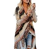 IEason Women top Tassel Women Patchwork Long Sleeve Gradient Fringe Cardigan Tops Sweater Coat