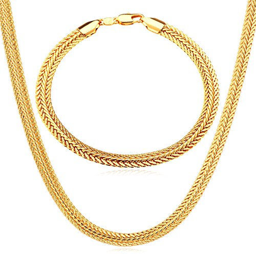 Men Necklace Bracelet Set 18K Stamp Jewelry Gold Plated Foxtail Chain 6MM (18 Foxtail Chain)