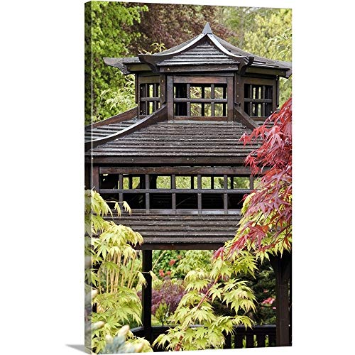 GREATBIGCANVAS Gallery-Wrapped Canvas Entitled Wooden Pagoda Hidden Amongst The Foliage of Mixed Japanese maples, England by 24