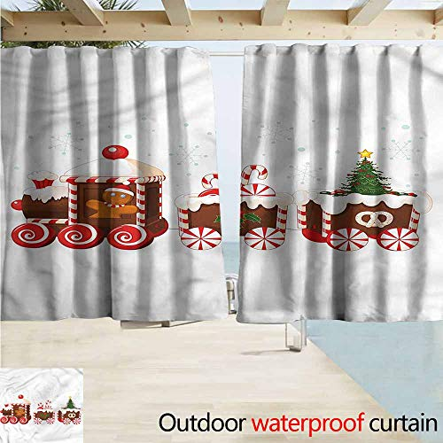 - MaryMunger Exterior/Outside Curtains Christmas Gingerbread Train Darkening Thermal Insulated Blackout W55x45L Inches